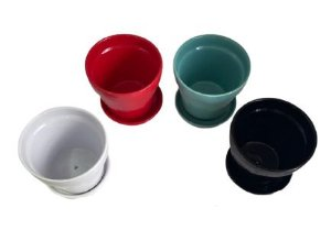 Vaso Cerâmica com Prato P Cores Sortidas