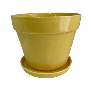 Vaso Cerâmica com Prato G Cores Sortidas