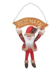 Papai Noel com Placa Pendurar 36x27CM