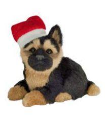Enfeite Natal Cachorro Sentado Preto/Bege