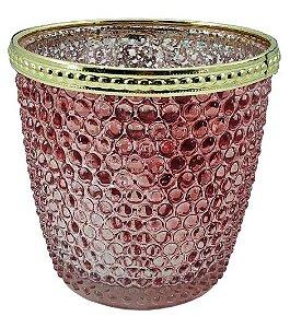Vaso de Vidro Bubble 9CM - Rosa/Dourado