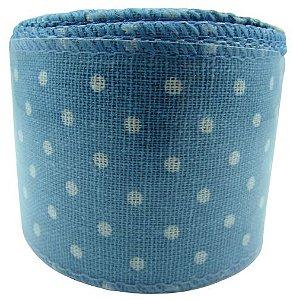 Fita Aramada Tecido Poa 6,3x9,14CM - Azul Claro