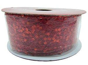 Fita Aramada Tela com Glitter 3,8x9,14M - Vermelho