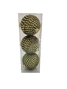 Bola Natal Anelada Dourada X3 10CM - 12105DR