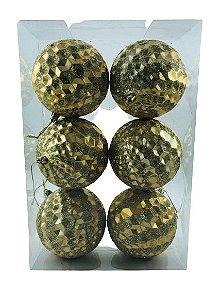 Bola Natal Decor Pirâmide Dourado X6 10CM – 12896