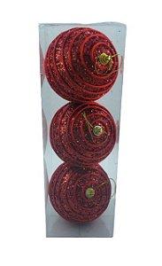Bola Natal Decor Vermelha X3 8CM - 12075