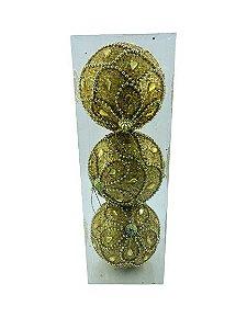 Bola Natal Fios de Pérolas Dourada 10CM - BF7152