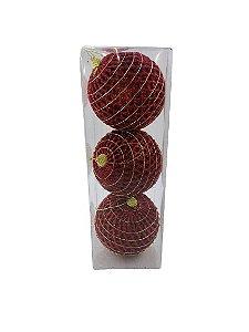 Bola Natal Fios de Glitter Vermelho X3 8CM - BF7075
