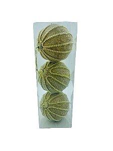 Bola Natal Fios Dourado Claro X3 10CM - BF7156