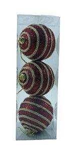 Bola Natal Vermelha/Corrente Ouro X3 8CM - 12045