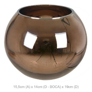 Vaso de Vidro Aquário 15,5CM - Cobre