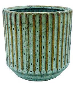 Vaso de Cerâmica Riscado 12CMxØ11,5 - Bege