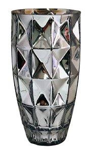 Vaso de Vidro Diamantado 32CM - Prata