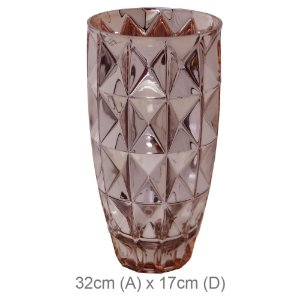 Vaso de Vidro Diamantado 32CM - Rose