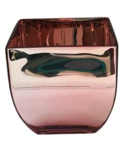 Vaso de Vidro Quadrado/Arredondado 16cm - Rose