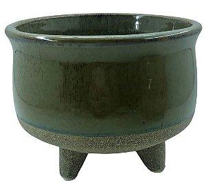 Vaso Cerâmica Bicolor com Pé 12cm x Ø15 - Verde