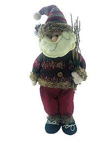 Papai Noel em Pé 48cm com Lenha - 18052
