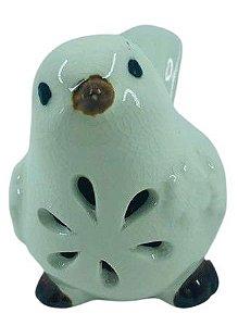 Pássaro Cerâmica Frontal Branco 4178
