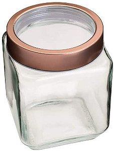 Porta Mantimento Vidro Com Tampa Gold Rose 1,2litros