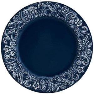 Sousplat Azul Marinho Patinado Plástico 33CM 7609