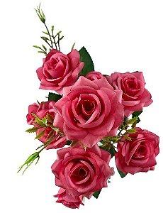 Buque Rosa Diamante X6 30CM Rosa Pink 03322