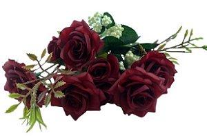 Buque Rosa Diamante X6 30CM Vermelho 03322