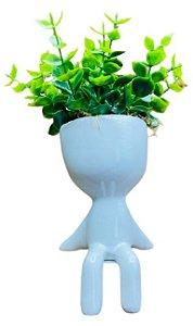 Vaso Cerâmica BOB Sentado Mão para Trás Branco P