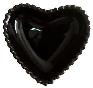 Coração Cerâmica Médio Preto 12,3 x 12,3 2008081