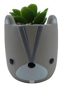Esquilo Vaso Cerâmica C/ Suculenta 4886