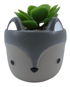 Ouriço Vaso Cerâmica C/ Suculenta 4886