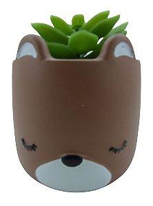 Urso Vaso Cerâmica C/ Suculenta 4886