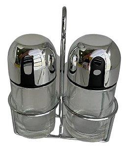 Conjunto Porta Condimento Vidro Prata / Inox VDA05009