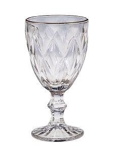 Taça Água Fio de Ouro Diamond Transparente 325ML