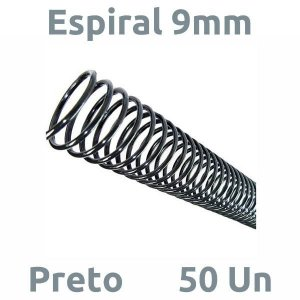ESPIRAL 9MM PRETO P/ 50 FLS - 50 UN