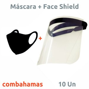 KIT - 10 MÁSCARAS NEOPRENE LAVÁVEL + 10 FACE SHIELDS PROFISSIONAIS