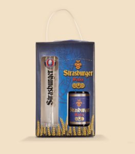 Cerveja artesanal kit Stras 10 - 2/un - Cerveja Weiss 500ml + Taça 400ml - Strasburger