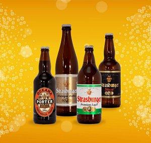 Cerveja artesanal kit Stras 4 - 4/un - Stout, Premium Lager, Munique Extra e Oceana Porter 500ml - Strasburger