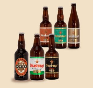 Cerveja artesanal kit Stras 6 - 6/un - IPA, APA, Stout, Premium Lager, Munique Extra e Oceana Porter 500ml - Strasburger