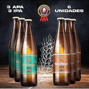 Cerveja artesanal kit Stras 18 - PROMO - 6 Unidades, 3 APA + 3 IPA, 500ml - Strasburger