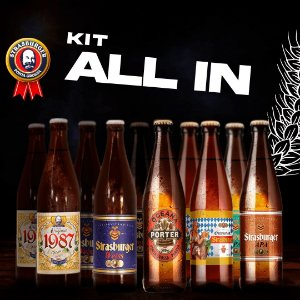 Cerveja artesanal kit Stras 24 - Kit All In - 12 Unidades, 2 Original 1987 + 2 Weiss + 2 Oceana Porter + 2 IPA + 2 APA + 2 Oktoberfest, 500ml - Strasburger