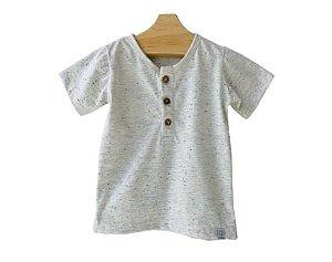 Camiseta Manga Curta com botões mescla
