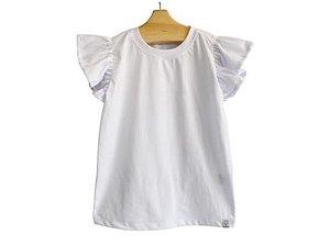 Camiseta Curta Branca Babado