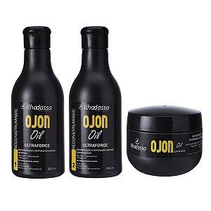 Kit Shampoo, Condicionador  e Máscara Óleo de Ojon Reconstrução e Reparação Máxima Ultraforce Especial 300ml - Ilhadassa