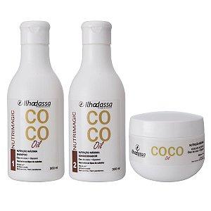 Kit Shampoo, Condicionador e Máscara Óleo de Coco Nutrimagic - Nutrição Máxima - Ilhadassa