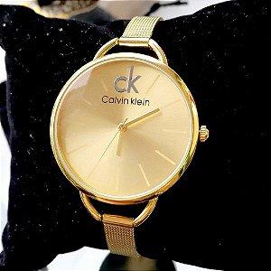 Relógio de Pulso Feminino Clássico de Quartzo e Pulseira de Aço Inoxidável Dourado