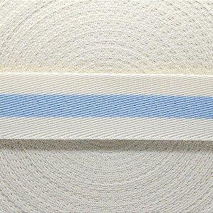 Fita Listras 40mm - Creme/Azul bebê