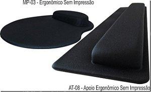 Mouse Pad Ergonômico Gota Tecido Preto + Apoio Teclado