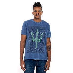 Camiseta Osklen azul logo verde