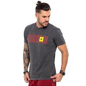 Camiseta Osklen cinza listras vermelhas