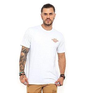 Camiseta Von Dutch branca logo garage laranja